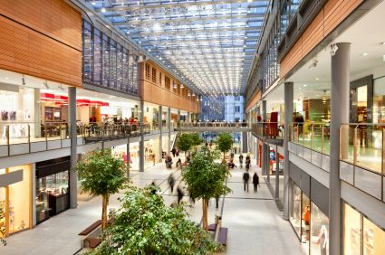 Shopping centres utilise automatic fire curtains to contain fires and save lives.